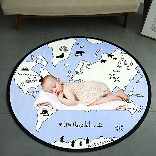GABWE Kids Round Rug World Map Rug Baby Crawling Mats Child Activity Round Carpet(Diameter 53 inches)