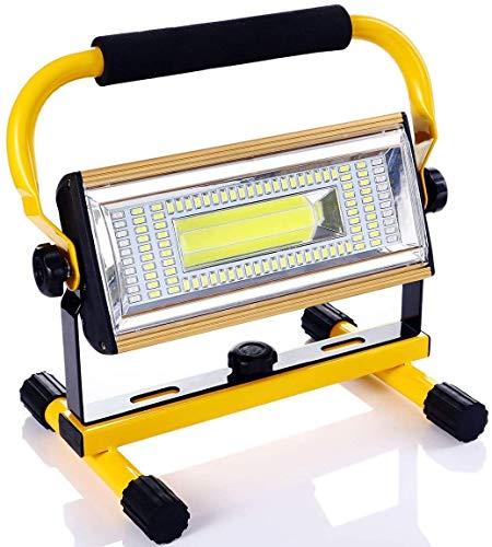 Luz de Trabajo LED Recargable, 100W Super Brillante Foco LED Trabajo Portátil Recargable USB para Jardín, Taller, Garaje, Camping, Obra, 6 Modos, Impermeable IP65 (Batería Incluida) (Amarillo)