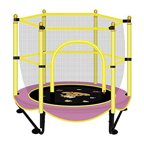 YAUUYA Kids Trampoline met veiligheidsbehuizing Hoge Spec Stille touw Zachte rubberen voetpad Met basketbalstandaard Ideaal binnen en buiten Tuin Trampoline voor kinderen Verjaardagscadeau, 150 cm