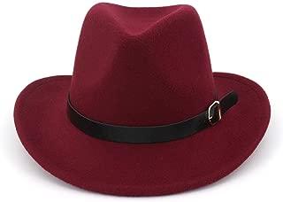 XinLin Du Unisex Women Men Wool Western Cowboy Hat With Leather Belt Cowgirl Hat OutBlack Sombrero Hombre Hat