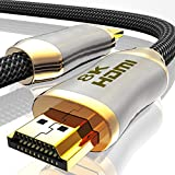 2m 8K HDMI Kabel 2.1-8K@60Hz 4K @ 120Hz DSC - HDTV 7680 x 4320 - UHD II - HDMI 2.1 2.0a 2.0b - 3D Highspeed Ethernet HDR - ARC Präzisionsstecker kompatibel zu Blu Ray PS4 PS5 Xbox