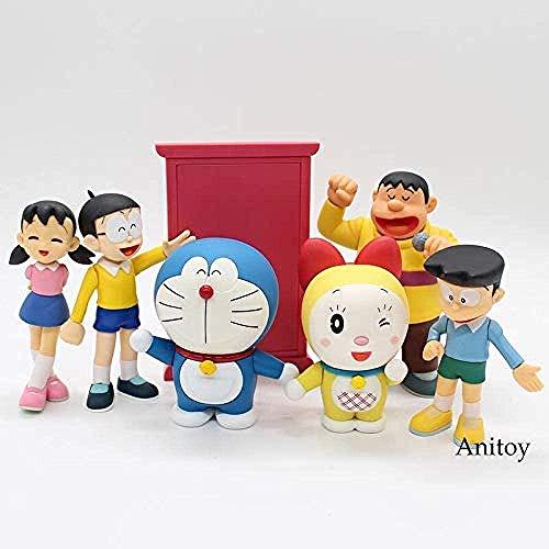 LWH-MOU Doraemon Nobita Nobi Honekawa Suneo Minamoto Shizuka Dorami Big G PVC Figura Juguete Coleccionable 9-14 cm KT4048 F-A-C