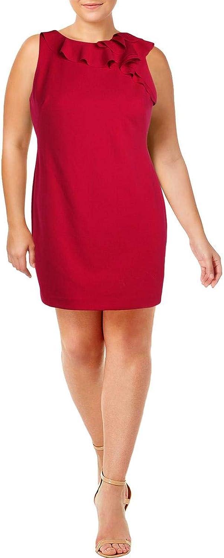 Lauren Ralph Lauren Womens Petites Ruffled Sleeveless Wear to Work Dress