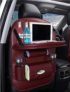 Car Back Seat Car Organizer Multi-Pocket Touch Screen iPad Tablet Holder Kick Mat incluyendo caja de pañuelos y soporte plegable para mesa de comedor (Wine)