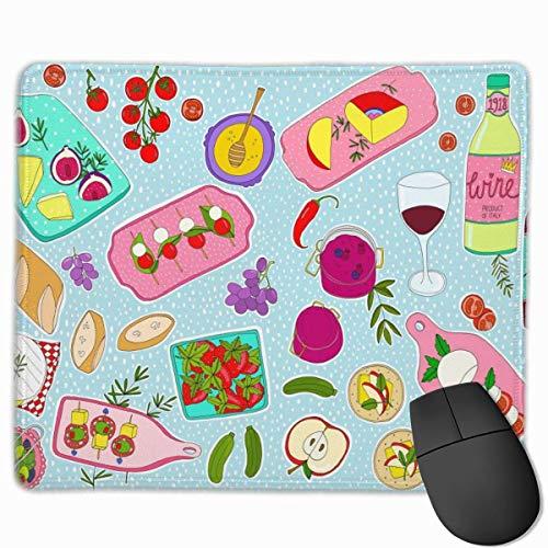 Käse und Wein rutschfeste Persönlichkeit Designs Gaming Mouse Pad Schwarzes Stoff Rechteck Mousepad Art Naturkautschuk Maus Matte mit genähten Kanten