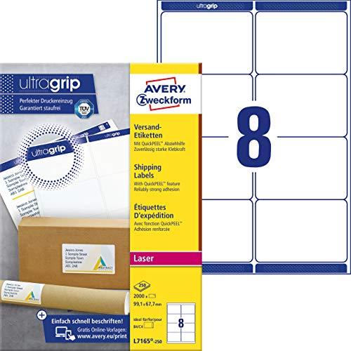 AVERY Zweckform L7165-250 Versandetiketten/Versandaufkleber (mit ultragrip, 99,1 x 67,7 mm auf DIN A4, bedruckbar, selbstklebend, für DIN B4/C4 Umschläge, 2.000 Etiketten auf 250 Blatt) weiß