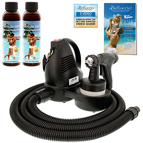 Belloccio Premium T75 Sunless Turbine Spray Tanning System with 4 oz. Simple Tan 8.5% DHA Medium & 12.5% DHA Dark Tanning Solutions & Video Link