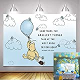 Wininie Backdrop Pooh Photography Background Light Blue Hot Air Kids Baby Shower Birthday Party Backdrops White Clounds Butterfly Newborn Photo Studio Booth Props Banner 1.8m x 1.2m)