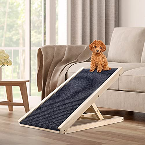 Crtkoiwa Rampa para Perros Plegable, Respetuoso con El Medio Ambiente No TóXico Puede Transportar 110 Libras Rampa para Mascotas Ajustable En Altura De 30-40 Cm Alfombra Antideslizante