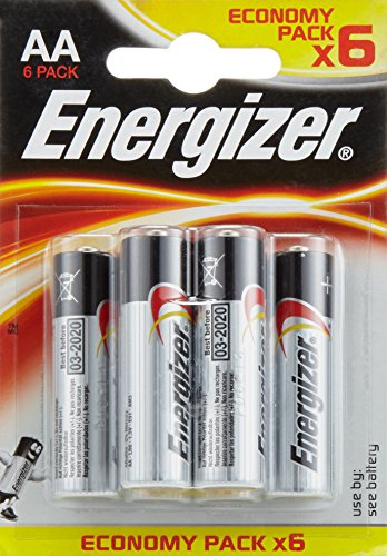 Energizer-Pila alcalina E300132800 LR6, AA, confezione da 6 pezzi