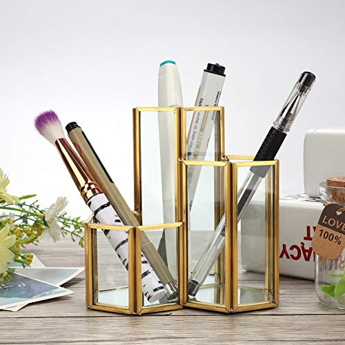 Soporte para brochas de maquillaje, vidrio de calidad, resistente y duradero, exquisito soporte para bolígrafos, elegante y fácil de limpiar para el estudio de la oficina, la sala de estar