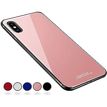 【SUMart】 iPhoneX ケース, 強化ガラスケース レンズ保護 耐衝撃 極薄 耐久 ハードケース Qi充電対応 アイフォンX ケース アイフォンX ケース (iPhoneX 5.8インチ, ピンク)