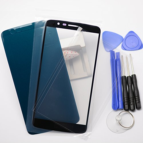 Eaglestar Black LS777 Front Panel Outer Screen Glass Lens Replacement for LG Stylo 3 LS777+Pre-cut OCA Tape&Frame Tape+Tool Kit