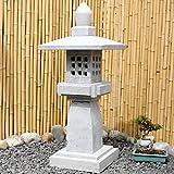 Asien Lifestyle Asiatisches Geisterhaus Naturstein (90cm) Garten Stein Laterne China Pagode