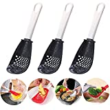 YYNN 3PCS Multifunctional Kitchen Cooking Spoon - 6 in1 Kitchen Gadgets Strainers Grater Masher- Colander Skimmer Scoop, for Draining, Mashing, Grinding, Filtering (Black)
