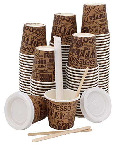 100 vasos para café de papel biodegradables biodegradables de 75 ml +...