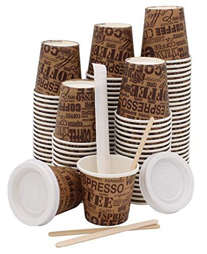Exxens 100 Pz Bicchieri Caffe di Carta Biodegradabili Biocompostabili Tazzine 75ml + 100 Pz Coperchi e Palettine Legno Betulla