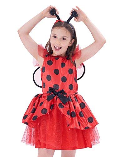 IKALI Costumi da Coccinella Bambina, Ragazze Tutu di Ballerina Travestimentocon l ala per la Festa di Halloween