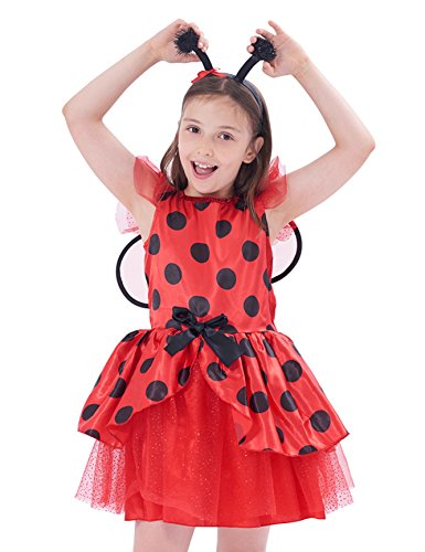 IKALI Ladybug kostüm Kinder mädchen, Marienkäfer Tierischeskleid Ballerina Tutu Rock mit Flügel für Karneval Fasching