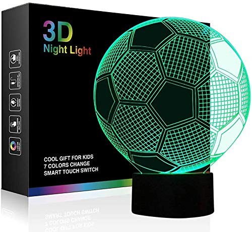 Night Lights for Children 3D Illusion LED Night Lamps Kids Room Décor 7 Colors Changing Touch Switch Table Desk Lighting Bedroom Home Decorations Best Gifts for Boys Girls Football Soccer Sports Fan