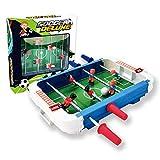 Rubyu-123 Mini futbolín de fútbol, futbolín de mesa para 2 jugadores, juego familiar, plástico ABS, duradero e interesante, con barra de acero inoxidable de 26,5 cm