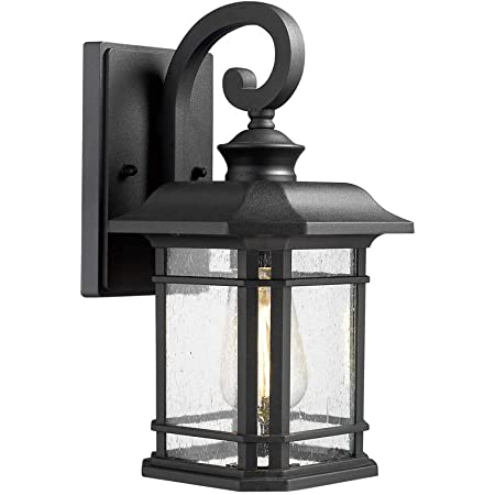 Emliviar Outdoor Wall Lantern Lights 1 Light Exterior Wall Sconce Lamp Black Finish With Clear Seeded Glass 2084b Bk