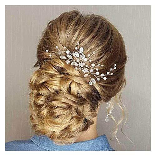 Edary Fermagli per capelli da sposa sposa Fermagli per capelli argento perla Copricapo da sposa con perline Accessori per capelli con strass per donne e ragazze