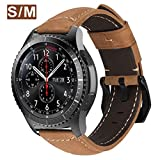 MroTech Bracelet Galaxy Watch 46mm en Cuir Compatible pour Samsung Gear S3 Frontier/Classi/Galaxy 46 Bande 22mm de Montre Remplacement pour Huawei Watch 2 Classic/GT/GT2/GT Active/Elegant,suédé Kaki