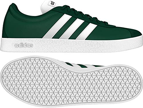 adidas Herren Vl Court 2.0 Turnschuh-Skateboard-Mann, Grün (Collegiate Green/FTWR White/FTWR White), 45 1/3 EU