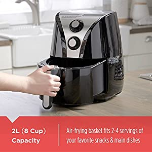 BLACK+DECKER Purify 2-Liter Air Fryer, Black/Stainless Steel, HF110SBD