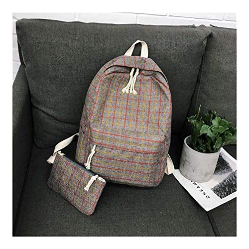 Angle-w Design Elegante, Viaggio Semplice, 2Set Plaid Pattern Backpack Donne Donne Borsa a Tracolla Nuovo Adolescente Girl School Backpack Scaffi Andiamo Oltre (Color : Gray 2set, Size : XL)