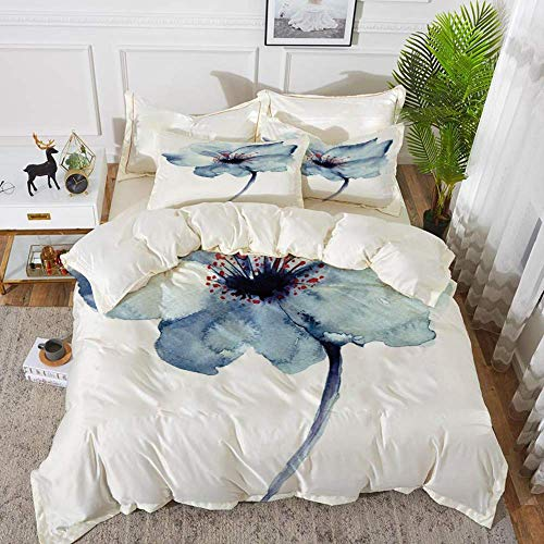 ropa de cama - Juego de funda nórdica, acuarela, diseño artístico de una flor de primavera con estampado de tema de nacimiento de vida de tonos azules, funda nórdica de microfibra hipoalergénica con 2