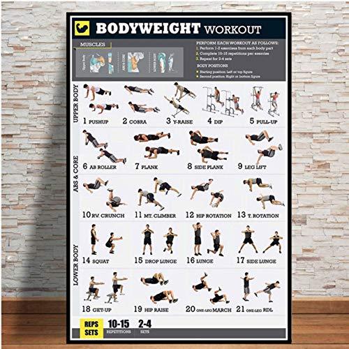 Entrenamiento Culturismo Ejercicio Bodyweight Chart GYM Poster Lienzo de pintura la impresión de HD Pared del arte Fotos Bar Mural Decoración del hogar 50 * 75cm (Sin marco)