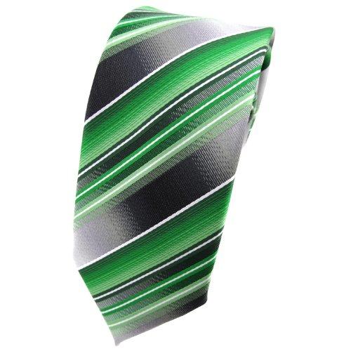 schmale TigerTie Designer Krawatte in grün silber anthrazit hellgrau gestreift - Tie Binder