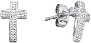 10kt White Gold Womens Round Diamond Cross Cluster Earrings 1/10 Cttw In Pave Setting (I2-I3 clarity; J-K color)