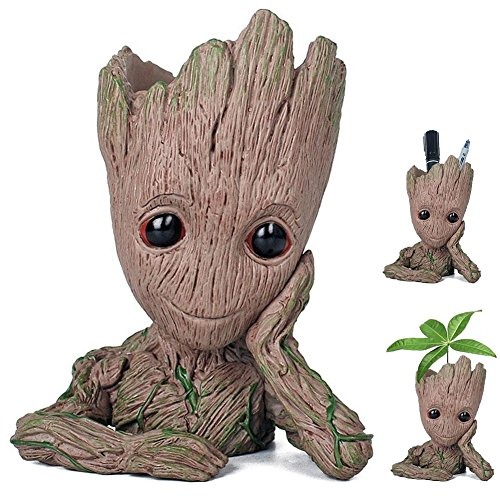 Newthinking Baby Groot Flowerpot, Cartoon Baby Groot Plants Pot with Drainage Hole, Indoor Creative Flower Pot for Desktop Decoration and Kids Birthday Gift