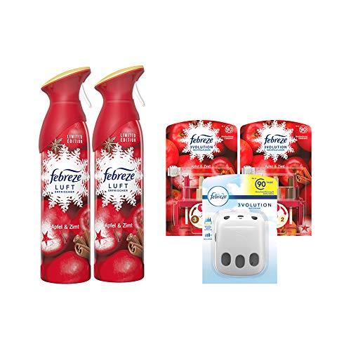 Febreze Set Apfel - Zimt / 2 x 300ml Lufterfrischer Spray & 1x 3Volution Duftstecker Gerät incl. 2 x 20ml Flacon