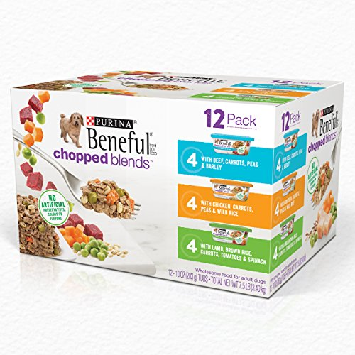 Purina Beneful Chopped Blends Adult Wet Dog Food Variety Pack – (12) 10 oz. Tubs