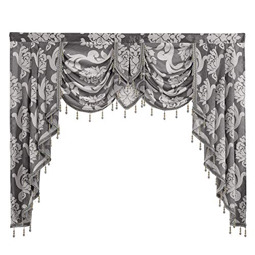 Waterfall Valance, NAPEARL European Style Jacquard Valance for Living Room Bedroom, Fancy Window Valance Curtains with Beads, 1 Swags Curtain ( 61W x 49L Inch, Grey )