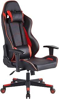 LFEWOZ Silla de videojuegos, estilo ergonómico, sillas giratorias, estilo de carreras, respaldo alto, piel sintética, silla de ordenador para oficina, sillas ejecutivas, escritorio para jugar en casa