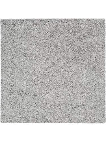 Benuta Hochflorteppich Swirls Shaggy Langflor Grau 160x160 cm Kunstfaser