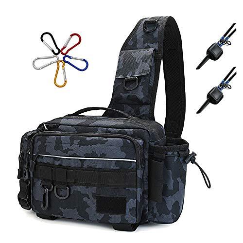 HAKAWAFLY フィッシングバッグ5WAY ロッドベルト2点とカラビナ5点付き 釣りバッグ 防水 タックルバッグ 多機能 大容量 ランガンバッグ (ブルーカモフラージュ)