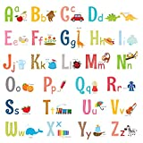 DECOWALL DW-1701S Alphabet ABC with Pictures (Medium) Kids Wall Stickers Decals Peel and Stick Removable for Nursery Bedroom Living Room Art murals Decorations