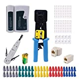 Rj45 Rj11 12 Crimping Tool, Crimp Tool Kit for Cat5 Cat5e Cat6,Kit for Pass Through Computer Maintenance Lan Cable Pliers Tester Repair Set,Professional Network Crimper Wire Connector Stripper Cutter