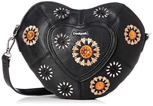 Desigual Bolso Mujer Modelo Flor Corazón Negro