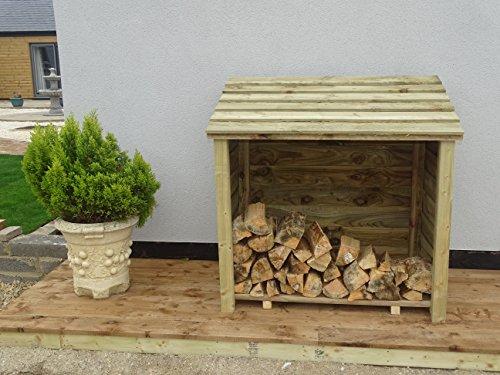 Arbor Garden Solutions Wooden Log Store (1 cubic meter capacity) (W-119cm, H-118cm, D-71cm) (Light Green (Natural))