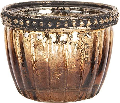 Clayre & Eef Glazen Theelichthouder 6GL2623 Ø 6 * 5 cm - Bruin Metaal/glas Waxinelichthouder Windlichthouder
