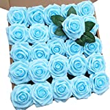 Artificial Flowers 25pcs Light Blue Real Looking Foam Rose Fake Flowers with Stem/Leaves for DIY Wedding Bouquets Centerpieces Floral Arrangments Home Party Decorations (25 PCS, Light Blue)