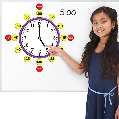 Really Good Stuff Magnetic Clock Face with Movable Hands Magnets Set