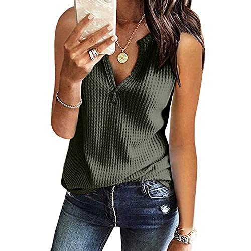 CHAOEN Damen Bluse Armellose Oberteile Top V-Ausschnitte Sommershirts Mode Lose Damenblusen Shirt Waffel Strick Elegante Hemdbluse Tshirt